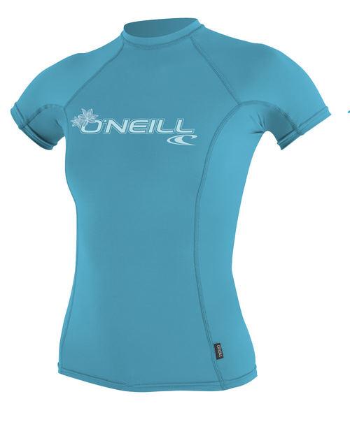 Oneill 6oz Basic Skins SS Ladies Crew Rash Vest Light Aqua