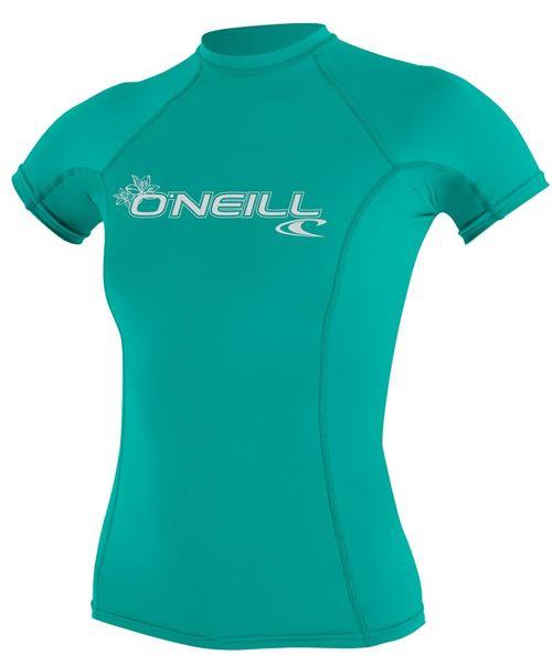 Oneill 6oz Basic Skins SS Ladies Crew Rash Vest  Turquoise