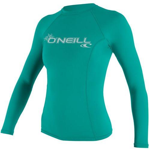 Oneill 6oz Basic Skins LS Ladies Crew Rash Vest Light Aqua