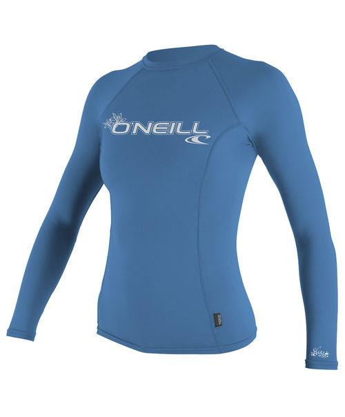 Oneill 6oz Basic Skins LS Ladies Crew Rash Vest Riviera