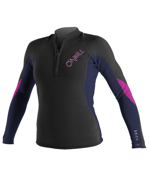 Oneill Womens Bahia LS Front Zip 1.0 mm Jacket Black Purple Pink - Image 1