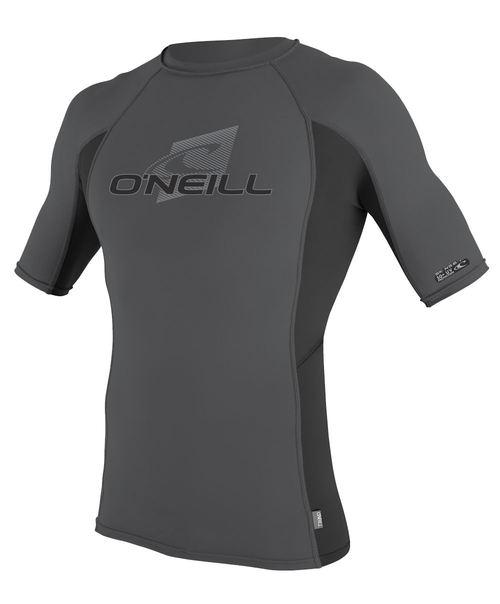 Oneill Mens 6oz Skins SS Crew Rash Vest Smoke Black