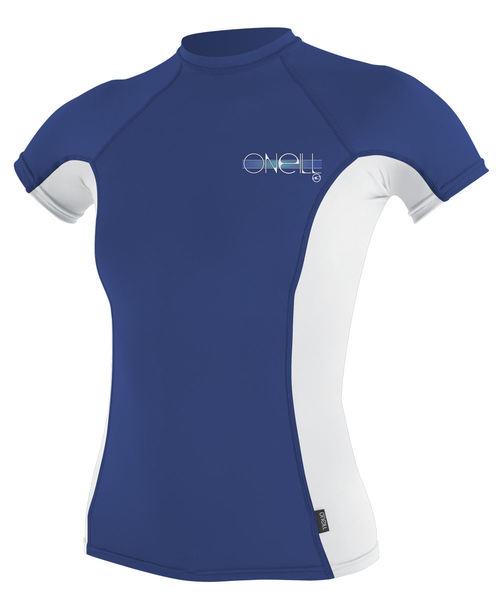 Oneill Skins Short Sleeved Ladies Crew Rashie Pacific White