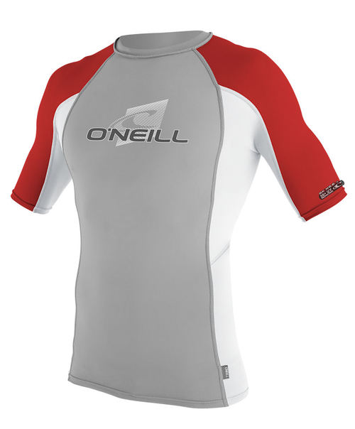 Oneill Youth Skins SS Crew Rash Vest Flint White Red
