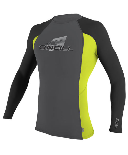 Oneill Youth Skins L/S Crew Rash Vest Graphite Lime Black