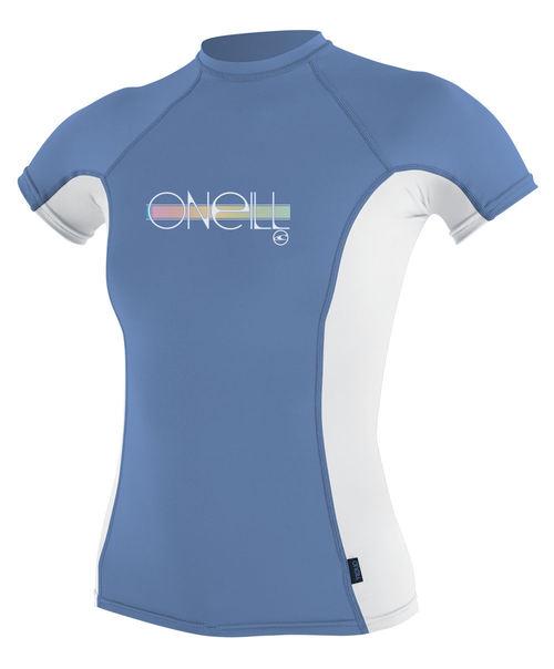 Oneill Girls Skins SS Rash Vest Crew Periwinkle