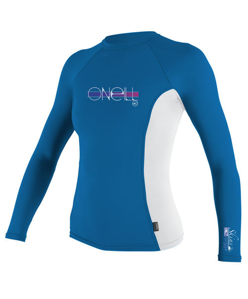 Oneill Kids Skins L/S Rash Vest Crew Ruby