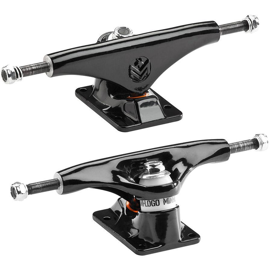 Mini Logo Skateboard Trucks Black 7.63 Inch Soft Bushings