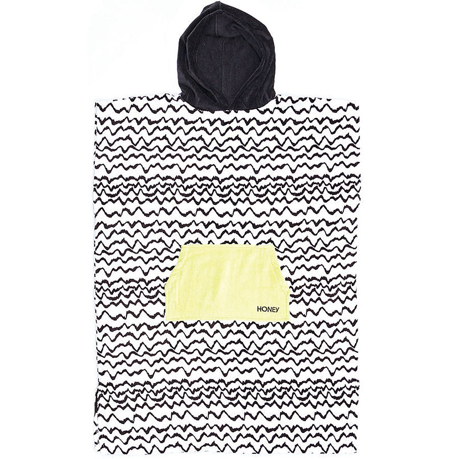 Ocean and Earth Ladies Waves Hooded Poncho Black and White