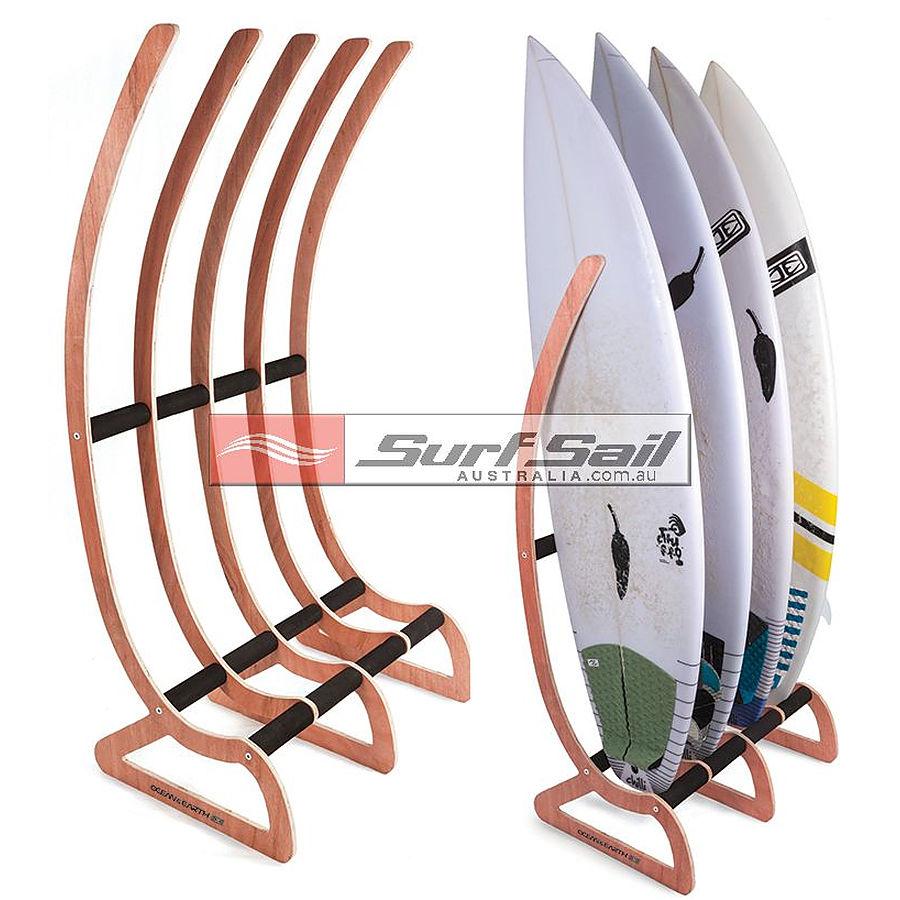 Ocean and Earth Free Standing Wood Surfboard Rax 4 Boards
