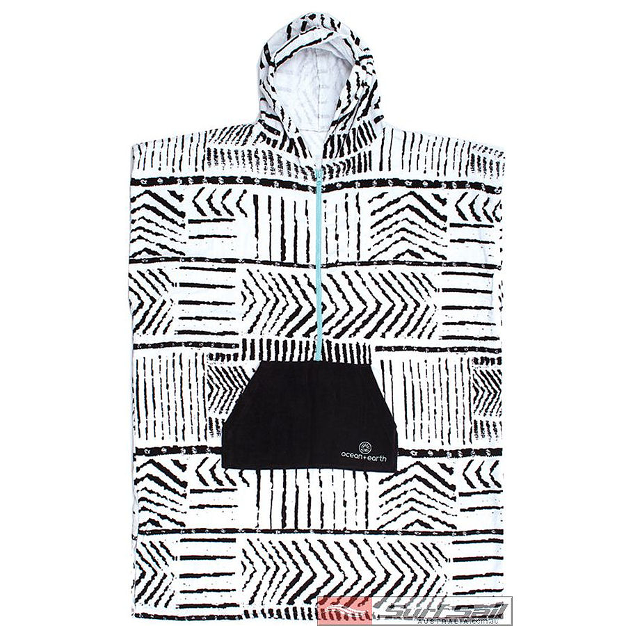 Ocean and Earth Girls Zip Front Hooded Poncho Black 18