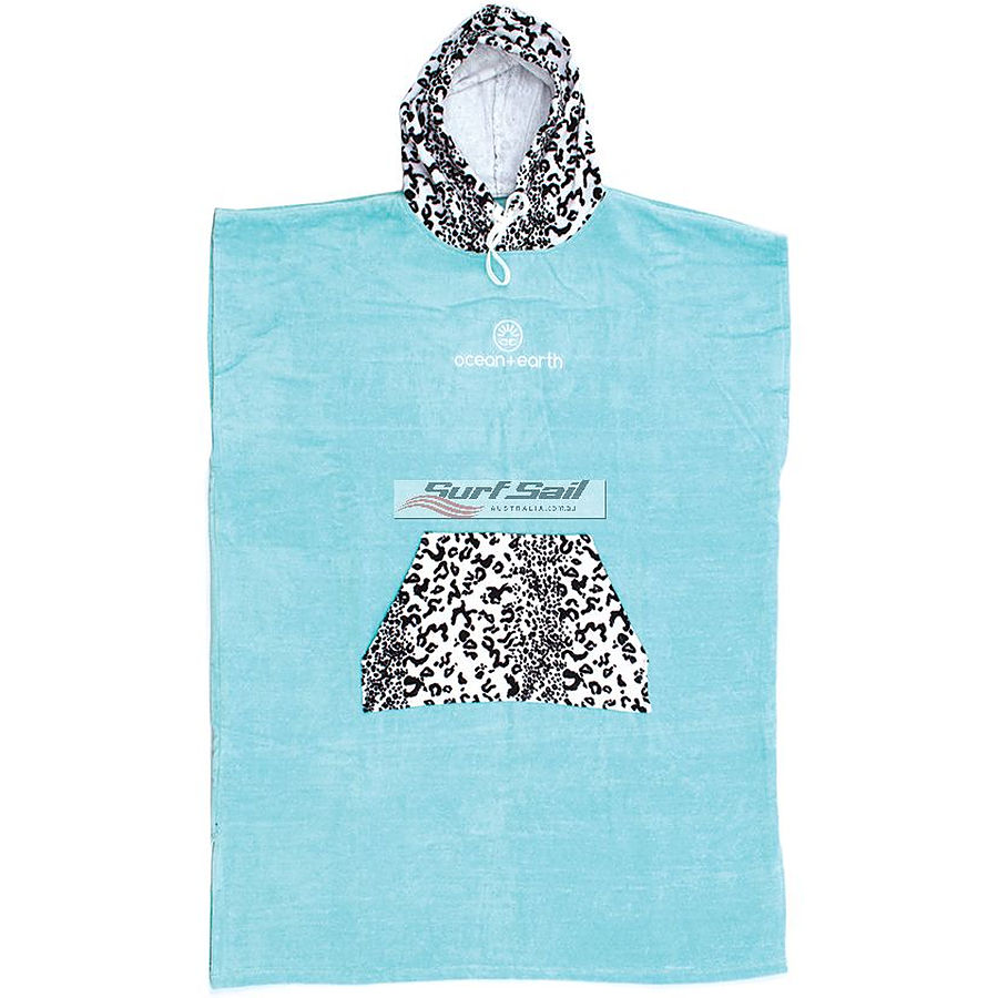 Ocean and Earth Ladies Animal Hooded Poncho Ice Blue