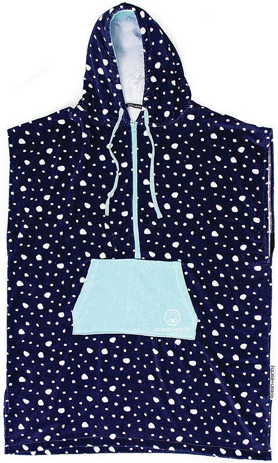 Ocean and Earth Ladies Hooded Poncho Navy with White Spots