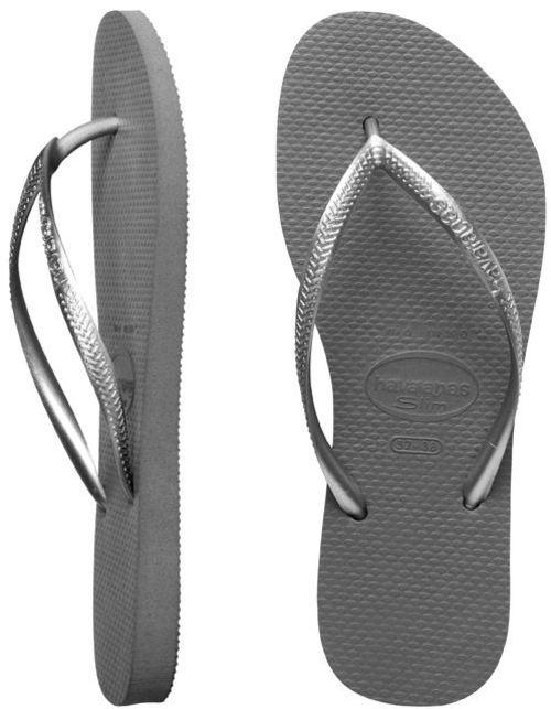 Havaianas Ladies Slim Metallic Grey Thongs
