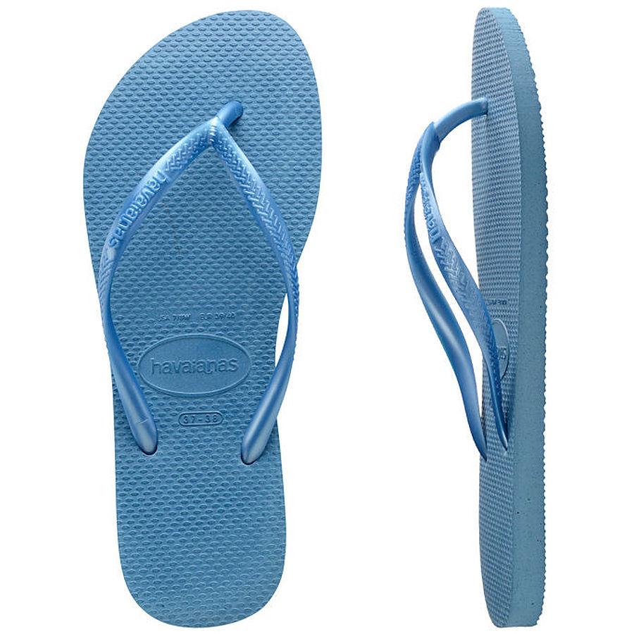 Havaianas Ladies Slim Metallic Steel Blue Thongs