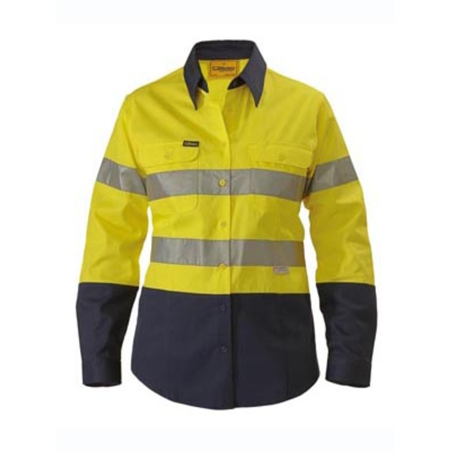 2 tone womens hi vis drill shirt 3m reflective tape long for Hi vis shirts with reflective tape