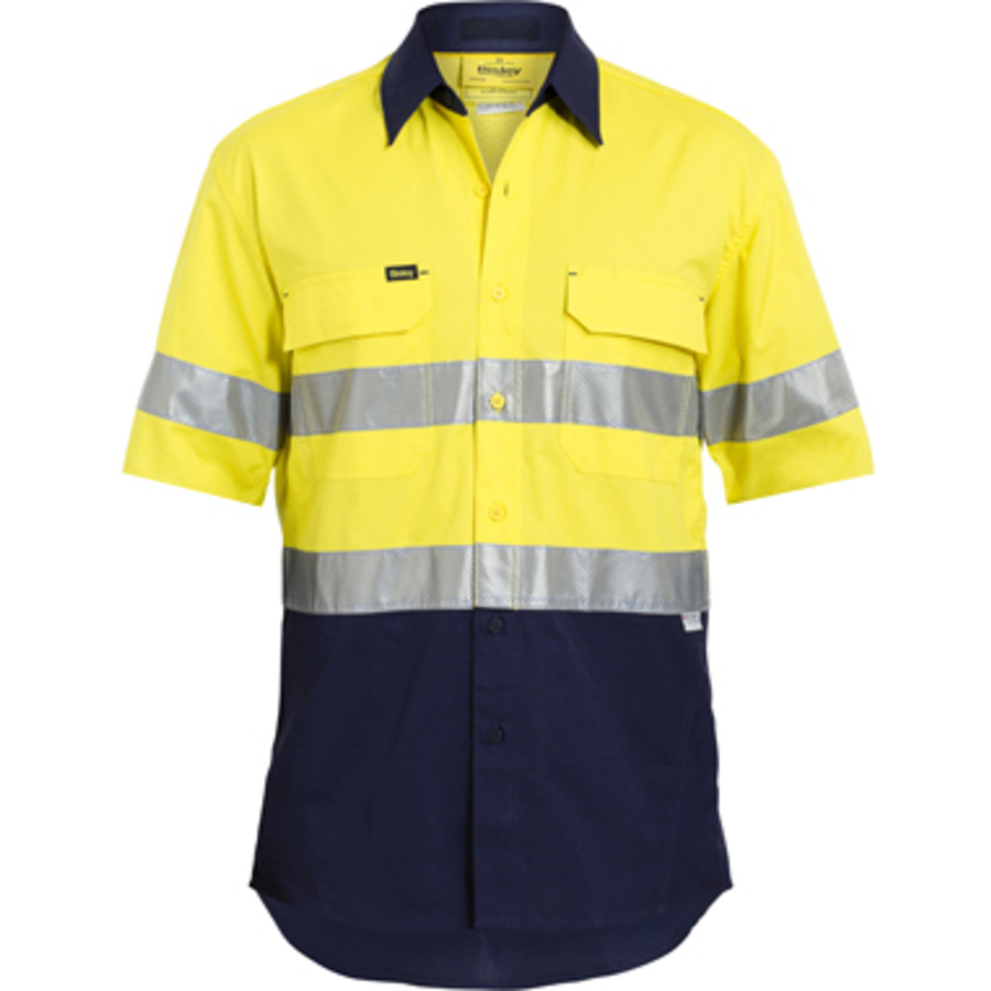 Hi vis drill shirt short sleeve w 3m reflective tape for Hi vis shirts with reflective tape
