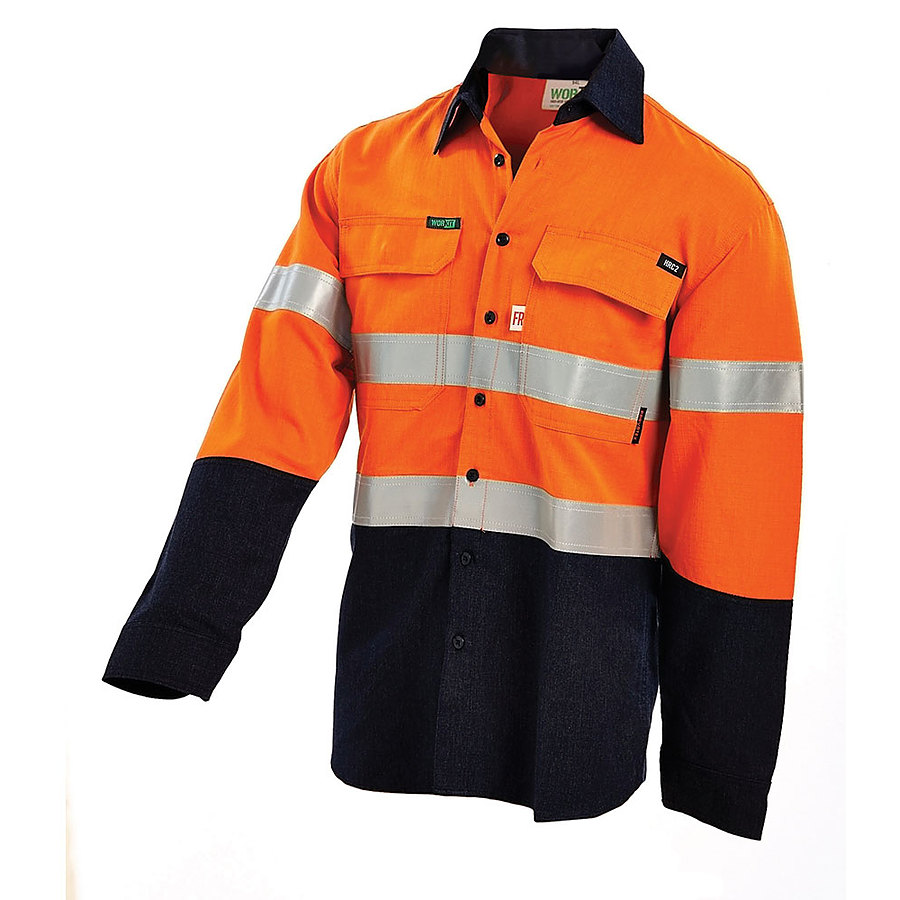 Hrc2 hi vis 2 tone lightweight drill shirt with reflective for Hi vis shirts with reflective tape