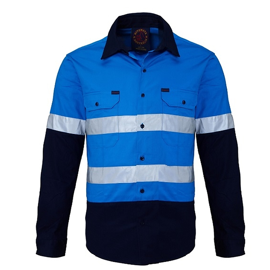 Kids shirt 2 tone open front long sleeve shirt with for Hi vis safety shirts