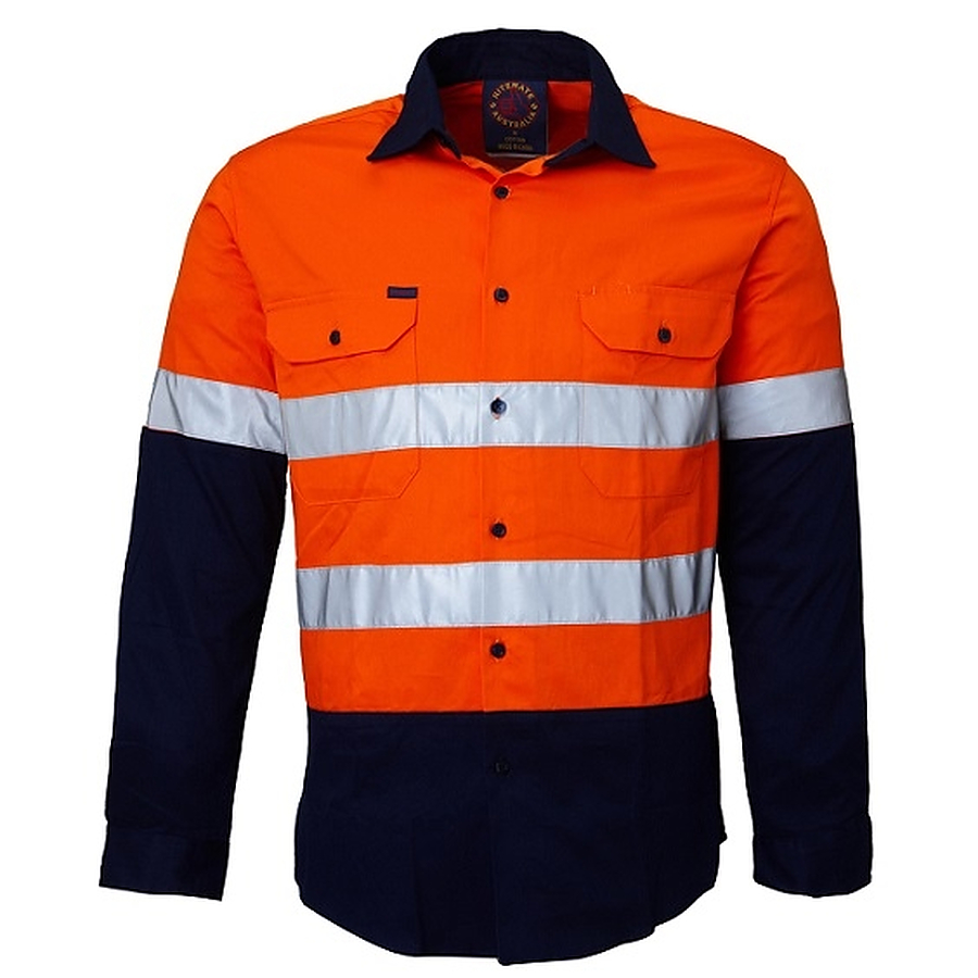 Kids shirt 2 tone open front long sleeve shirt with for Hi vis shirts with reflective tape