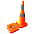 Collapsible Safety Cone Plastic Base 700mm Reflective